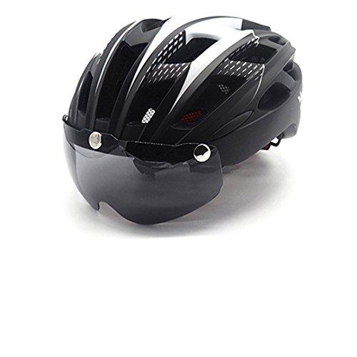 HELMEGOS Radhelm Hintergrundbeleuchtung Fahrrad Männer Frauen Brillen Fahrrad Helme Ultralight MTB Objektiv Sicherheit Licht Schwarz mit LED-Backlight - Fahrrad-licht Led 9
