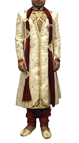 Indian Traditional Wedding Sherwani With Embroidery For Men (38)