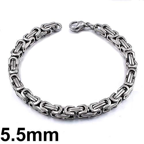 Armband Armreif,Schmuck Geschenk, Silver Color Stainless Steel Bracelets Link Byzantine Chain Bracelet for Mens Jewelry Fashion 5.5mm 21cm
