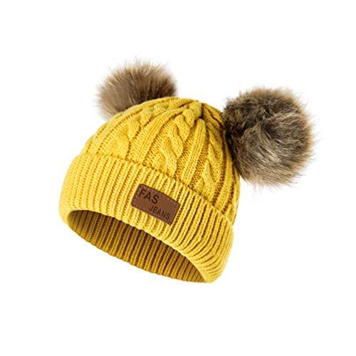 Qianliuk Baby Boys Pom Poms Hat Winter Hut für Mädchen Knitted Beanies Toddler Warm Cap