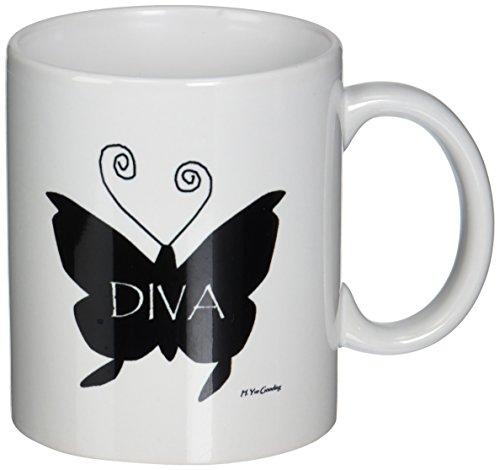 3drose Diva Schmetterling in Schwarz Keramik Tasse, 11-ounce (1 Unze Schwarze Rose)