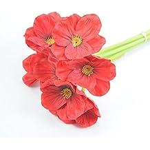 Amlaiworld Mini artificiales táctiles del verdadero flores de las amapolas (Rojo)