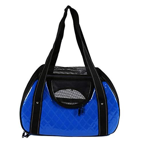 FGJFA Haustier-Fördermaschine-Reise-Handtaschen-Schulter-Beutel Tragbarer Tragbarer Hundenetzbeutel PU-Lederner Materieller Haustier Heraus Rucksack Der Großen Kapazität,Blue