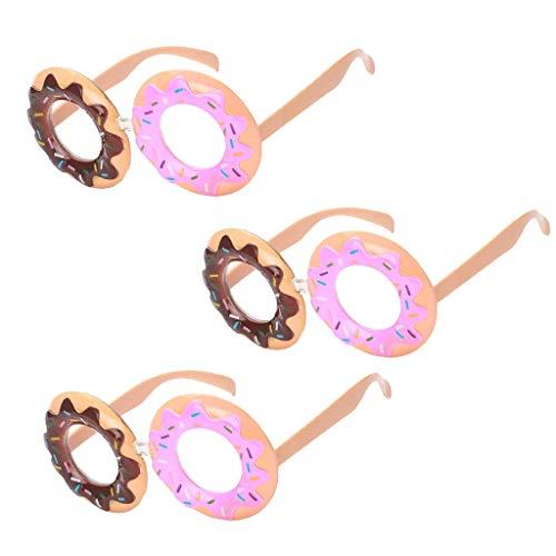 P Prettyia 3er Set Neuheit Party Spaßbrille Lustige Donut Rahmen Brille Kostümzubehör