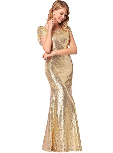 Frauen Kurzarm O-Ausschnitt Fischschwanz hell Abend Prom Pailletten Kleid Gold S - 4
