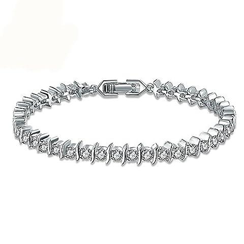 Fjyouria Charm pour femme Plaqué argent Bracelet de tennis pour femme avec rond brillant Oxyde de Zirconium élégant élégant à la main Chaîne Charm à clipser Bracelet
