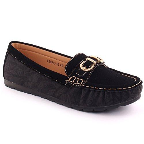 Unze Mesdames Femmes 'Fang' Boucle travaux Occasionnels Plat Glisser sur Les Pompes à Pied Mocassin Chaussures Cousu Vamp Carnival UK Size 3-8