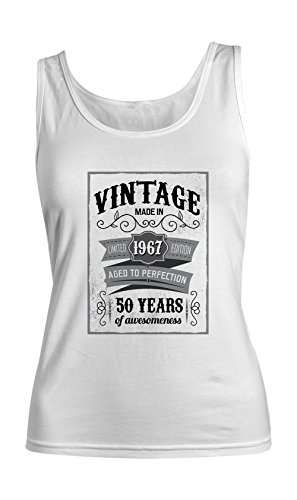 Vintage Made In 1967 50 Years Birthday Femme Tank Top Debardeur Blanc