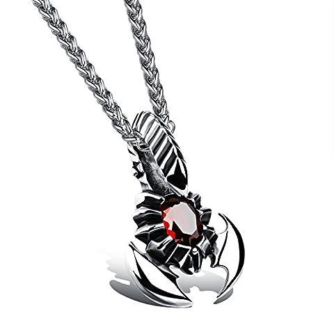 Fate Love hommes de ton argent/or rouge zircone Scorpion 59,9cm–Collier avec pendentif chaîne en acier inoxydable