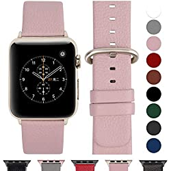 Fullmosa Compatible Apple Watch Bracelet 42mm/44mm(Serie 4) Cuir Véritable, Bracelet Apple Watch/iwatch Series 4 3 2 1,Nike+ Hermes & Edition,42mm 44mm Rose Doux+Boucle Or