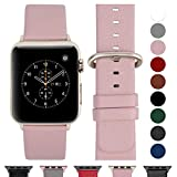 Fullmosa kompatibel Watch Armband 42mm und 38mm, Echtes Leder Uhrenarmband Ersatzband für Watch Series 3,2,1, Nike+ Hermes&Edition,Hellrosa+goldene Schnalle 42mm