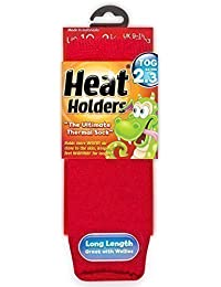 Childrens Thermal Heat Holders Socks All Colours 9-1.5 Uk, 27-33 Eur, Age 4-7 years (Red)