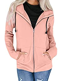 93ea5340c7e HLHN Women Sweatshirt Jacket Hooded Coat Plus Size Winter Casual Outwear  Windbreaker Long Sleeve Zip Pockets