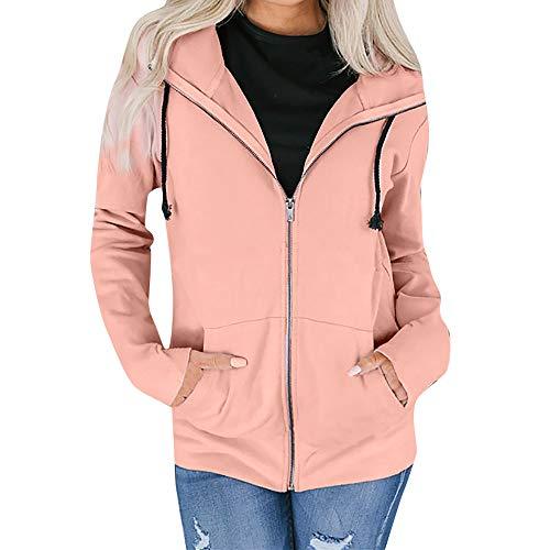 Damen Mantel Lose Langarm Outwear Tasche Reißverschluss Winterjacke Mode Kurz Coat MYMYG Damen Hoodie Pullover Kapuzenpulli Outwear Kapuzenjacke Sweatshirt Jacken (A4-Rosa,EU:36/CN-S)