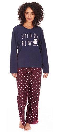 Femmes 'Stay In Lit Toute La Journée' Polaire Set Pyjama Hiboux De Nuit