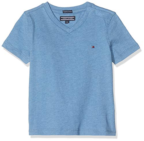 Tommy Hilfiger Basic VN Knit S/S T-Shirt Garçon,Bleu (Dark Allure Heather 408) , Taille unique (Taille fabricant: 80)