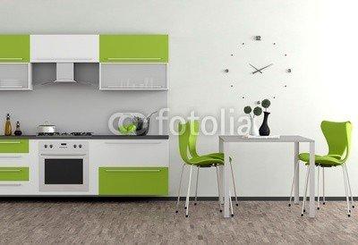 Alu-Dibond-Bild 100 x 70 cm:'Grüne Küchenmöbel', Bild auf Alu-Dibond