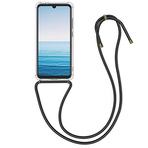kwmobile Funda con Cuerda para Xiaomi Redmi Note 7 / Note 7 Pro - Carcasa Transparente de TPU con Colgante en Transparente/Negro