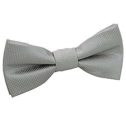 DQT Premium Woven Microfibre Plain Silver Solid Check Kids Boy's Pre-tied Bow Tie