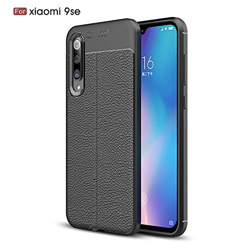 CruzerLite Xiaomi Mi 9 SE Case, Cover Xiaomi Mi 9 Flexible Slim Case with Leather Texture Grip Pattern And Shock Absorption TPU Cover for Xiaomi Mi 9 SE (Black)