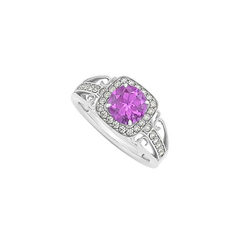 CZ and Amethyst Halo Engagement Rings in 14K White Gold 1.25 CT TGW February Birthstone Gift