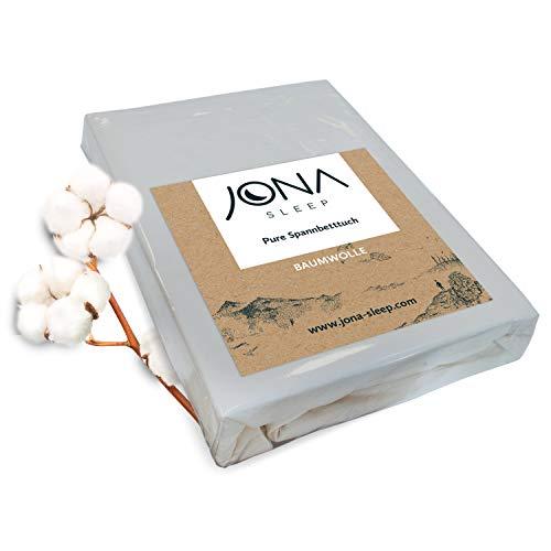 JONA SLEEP Topper-Bezug Spann-Betttuch Hell-Grau 200x200 cm Baumwolle Öko-Tex Bettlaken Jersey für Boxspringbett Grafit
