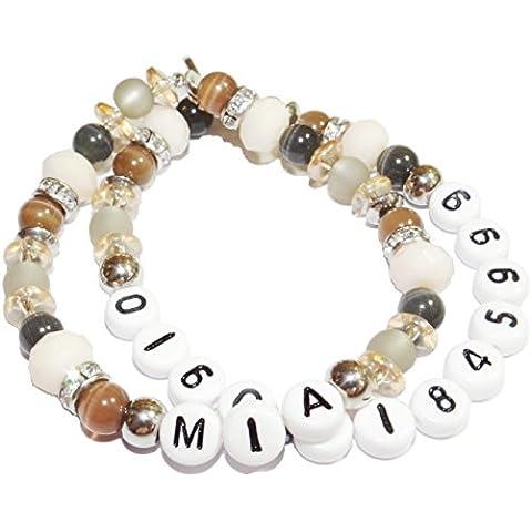 ARTemlos bracciale da bambino con nome e cellulare numero, in acciaio inox e perle