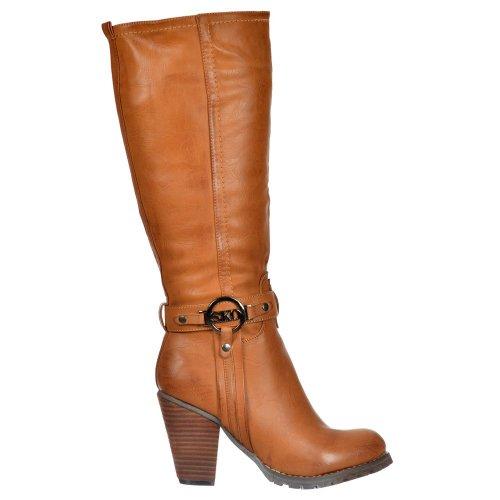 Onlineshoe delle signore delle donne alti stivali alti al ginocchio biker con cinghie e tacco - Nero, beige, marrone Abbronzarsi Con Fibbia