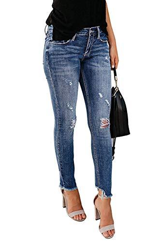 Minetom Jeans Damen Jeanshosen Röhrenjeans Skinny Slim Fit Stretch Stylische Boyfriend Jeans Zerrissene Destroyed Jeans Hose mit Löchern Lässig B Blau EU XS High Waisted Bootcut Jeans