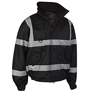 Mamanji Hi Vis Viz Security Safety Bomber Jacket Construction Storm Padded Waterproof Road Works Fluorescent Flashing EN471 Concealed Hood Quilted High Visibility Reflective (Black, XXXXXL / 5XL)