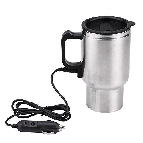 Keenso 450ml 12V Edelstahl Elektro Wasserkocher Heizung Trinkbecher Becher Flasche Reisen für Tee Kaffee Milch