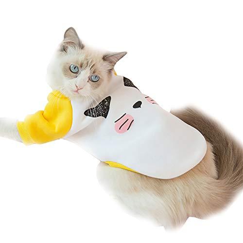 TOPFAY 1PC Haustier-Kleidung für Hund Katze Neuheit Jumpsuit Winter-Sweatshirt warmen Mantel Kitten Outfits für Partei beiläufig Kostüm (Kitten Gesicht Druck, L)