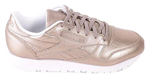 Reebok Damen CL Lthr Melted Metal Fitnessschuhe Grau (Pearl Met Grey Gold/White)