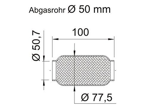 Ernst 460 02 6 Flex Tubo de escape sistema (Tubo Cable flexible 50, 7 x 100 mm) Ernst sin tubo de conexión
