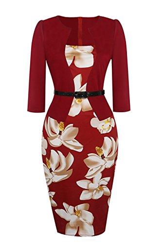 MisShow Robe de Travail pour Femmme Chic Elégante Imprimée à Fleurs Moulante au Genou Manche 3/4 Robe Femme Occssion Spéciale en Coton Bordeaux L