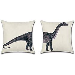 GJ Conjunto de 2 fundas de Cojín Almohada Diseñado de Patrones de Animales sin Inserto 45*45cm/17,7*17,7 inch (Dinosaurio)