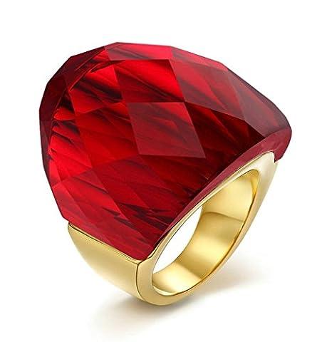 Edelstahl Ring (Verlobungsringe) Damen, Super Kristall Größe 57 (18.1) Rot