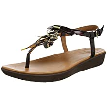 Fitflop Tia Dragonfly, Sandali con Chiusura a T Donna, Marrone (Chocolate Brown Turtle 690), 36 EU