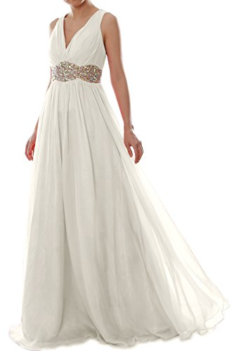 MACloth Women Straps V Neck Chiffon Long Prom Dress Wedding Formal Ball Gown (EU54, Marfil)