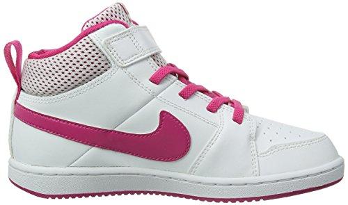 Nike Backboard 2 Mid 525651 Mädchen Basketballschuhe Weiß (Vivid Pink/BLANC/ROSVIV)