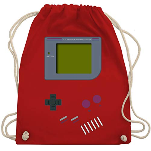 Shirtracer Nerds & Geeks - Gameboy - Unisize - Rot - WM110 - Turnbeutel und Stoffbeutel aus Bio-Baumwolle