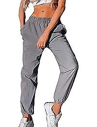 Greetuny 1pcs Personalidad Harajuku Pantalones Mujer Flash Reflectante  Trousers Ocio Hip Hop Calle Jogger Deportivos Pants dab7cb806a5