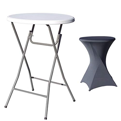 Partytisch mit Husse anthrazit Bistrotisch Stehtisch Klapptisch Biertisch Ø 80cm / Höhe ca.110 cm klappbar