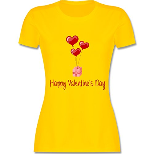 Valentinstag - Happy Valentine's Day Geschenk Herz Luftballon - tailliertes Premium T-Shirt mit Rundhalsausschnitt für Damen Gelb