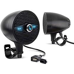 LEXIN LX-S3 Haut-parleurs Bluetooth Moto avec Radio FM Antenne Externe, Systèmes Audio Stéréo Moto Imperméables avec USB Chargeur, Compatible Guidon de 7/8inc à 1.25inc, Enceinte Motocycle Noir