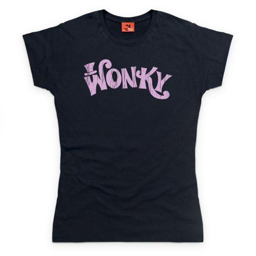 Wonky T-Shirt, Damen Schwarz