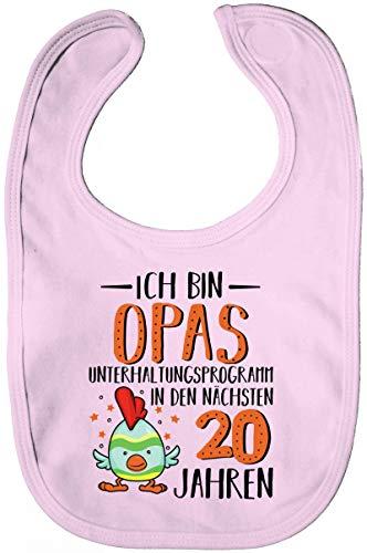 ShirtStreet Lustige Geschenkidee Vatertag Lätzchen Baumwolle Baby Bib Jungen Mädchen Opas Unterhaltungsprogramm, Größe: onesize,Powder Pink Opa Bib