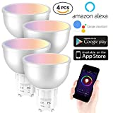 Ampoule WiFi EXTSUD GU10 Ampoule Connectée Intelligente 5W Lampe LED Couleur Multicolore RGB Contrôlé par Amazon Echo Alexa, Smartphone Android et iOS, Tablette(Lot de 4)