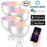 EXTSUD Smart LED WiFi Lampen,5W Dimmbar Mehrfarbig RGB LED Birne GU10 Glühbirnen ändern Stimmung Licht Arbeit mit Smartphone,Tablet, Amazon Echo Plus Alexa,Google Home,Steuerbar via App (4 Stück)