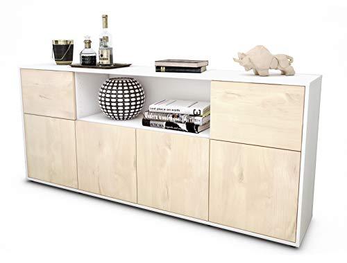 Stil.Zeit Sideboard Ermentrude/Korpus Weiss matt/Front Holz-Design Zeder (180x79x35cm) Push-to-Open Technik -